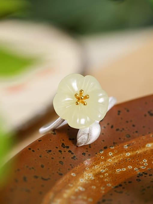 DEER 925 Sterling Silver Jade Flower Cute Band Ring 2