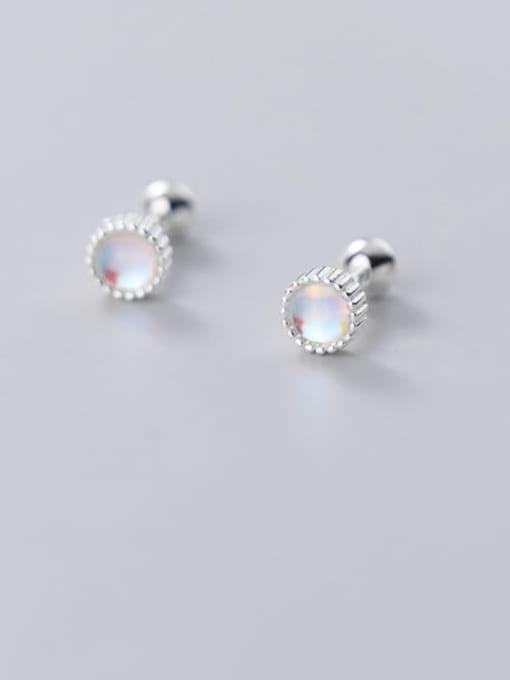 Rosh 925 Sterling Silver Opal Round Minimalist Stud Earring 1