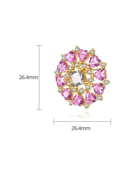 BLING SU Brass Cubic Zirconia Flower Vintage Stud Earring 4