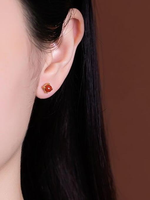 DEER 925 Sterling Silver Jade Cute Round Ball  Stud Earring 1