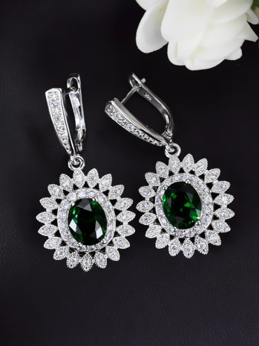 green Brass Cubic Zirconia Flower Luxury Huggie Earring