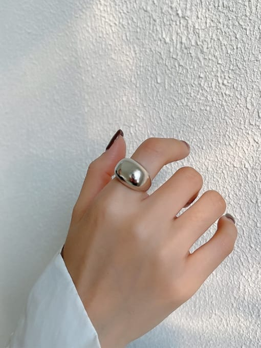 Boomer Cat 925 Sterling Silver Geometric Minimalist Band Ring 0