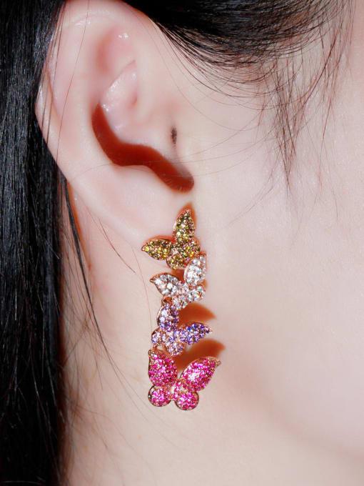 L.WIN Brass Cubic Zirconia Butterfly Luxury Drop Earring 2