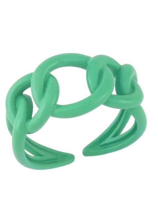 Light green Brass Enamel Hollow Geometric Minimalist Band Ring
