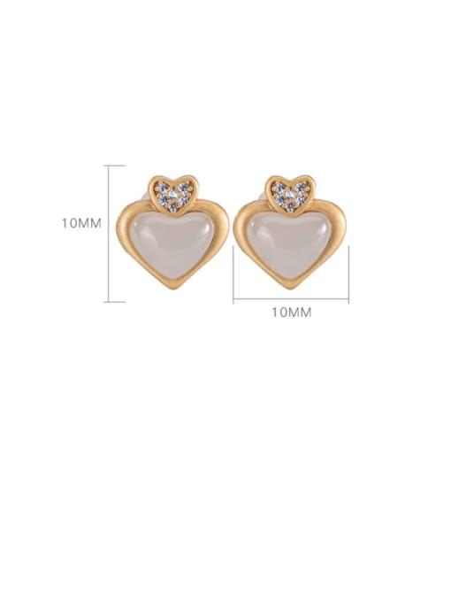 DEER 925 Sterling Silver Jade Heart Cute Stud Earring 4
