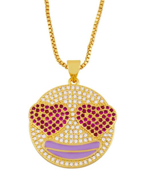 purple Brass Cubic Zirconia Smiley Hip Hop Necklace