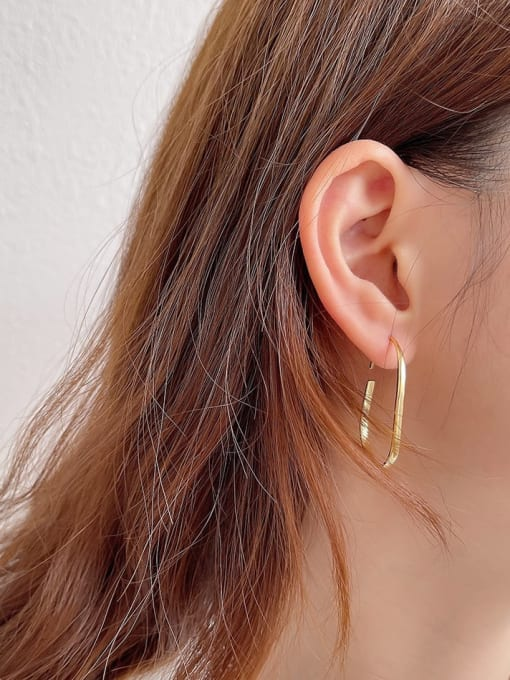 Boomer Cat 925 Sterling Silver Geometric Vintage Hook Earring 2