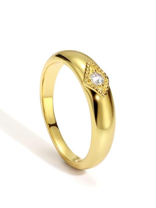 Gold zircon ring Brass Cubic Zirconia Round Minimalist Band Ring