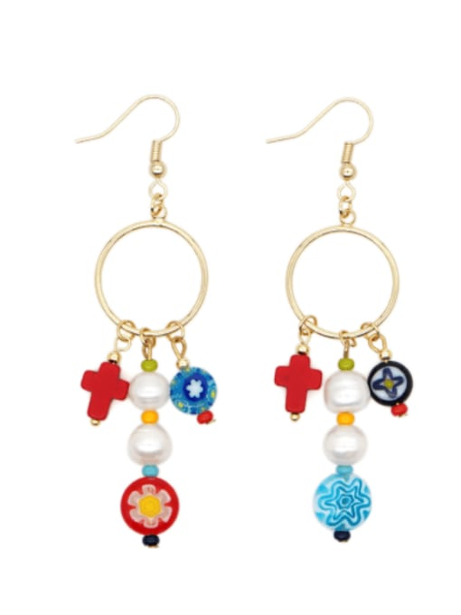 Roxi Stainless steel Freshwater Pearl Multi Color Glass beads Ethnic Long   Hook Earring