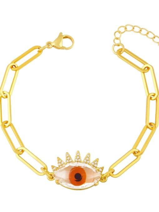 red Brass Enamel Evil Eye Vintage Link Bracelet