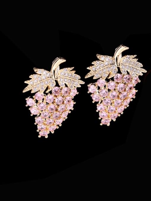 Pink Zirconium Brass Cubic Zirconia Friut Trend Stud Earring