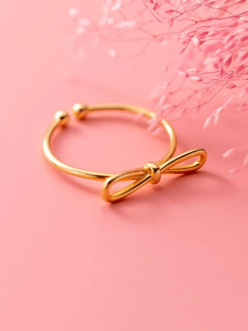 gold 925 Sterling Silver Bowknot Minimalist Band Ring