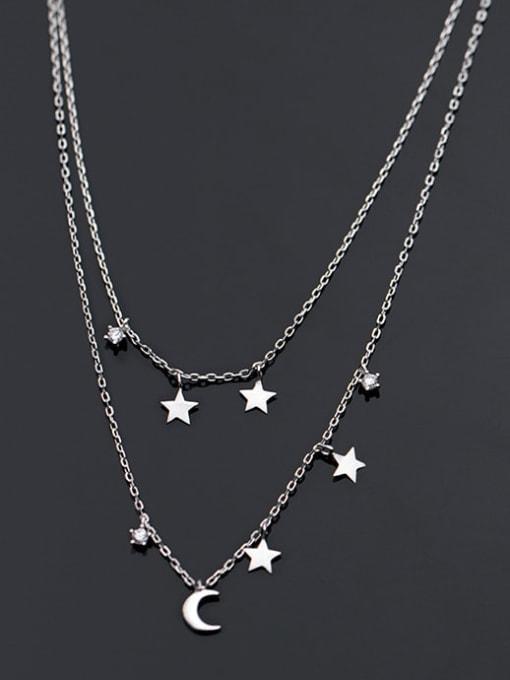 Rosh 925 Sterling Silver Moon Minimalist Multi Strand Necklace