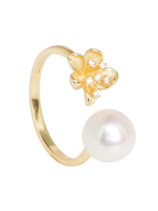 RAIN Brass Freshwater Pearl Flower Vintage Band Ring 4