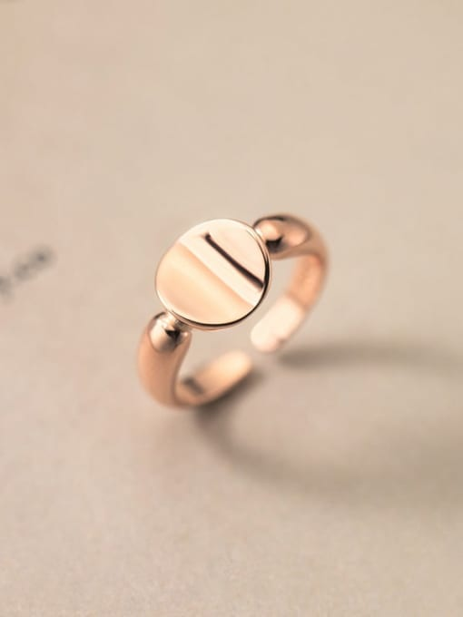 rose gold 925 Sterling Silver Geometric Minimalist Band Ring
