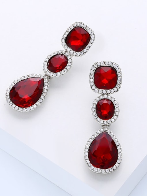 gules Alloy Glass Stone Water Drop Bohemia Cluster Earring
