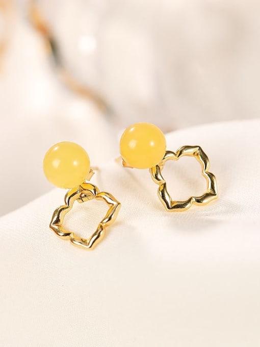 DEER 925 Sterling Silver Amber Flower Cute Stud Earring 2
