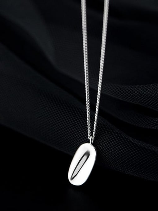 Rosh 925 Sterling Silver Smooth Geometric Minimalist Necklace