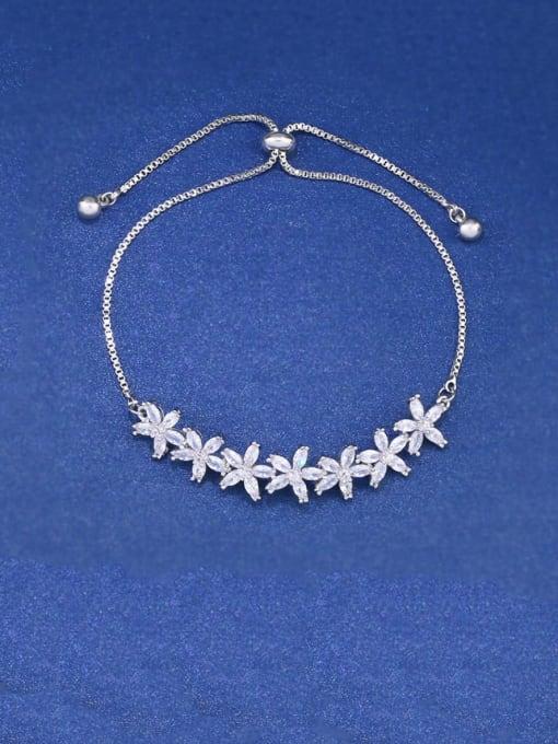 CC Brass Cubic Zirconia Flower Dainty Adjustable Bracelet 0
