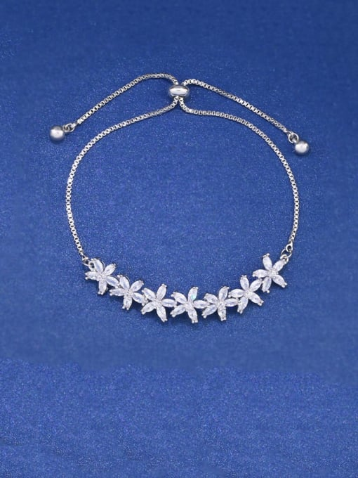 CC Brass Cubic Zirconia Flower Dainty Adjustable Bracelet