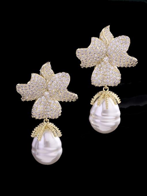 Luxu Brass Cubic Zirconia Flower Trend Drop Earring