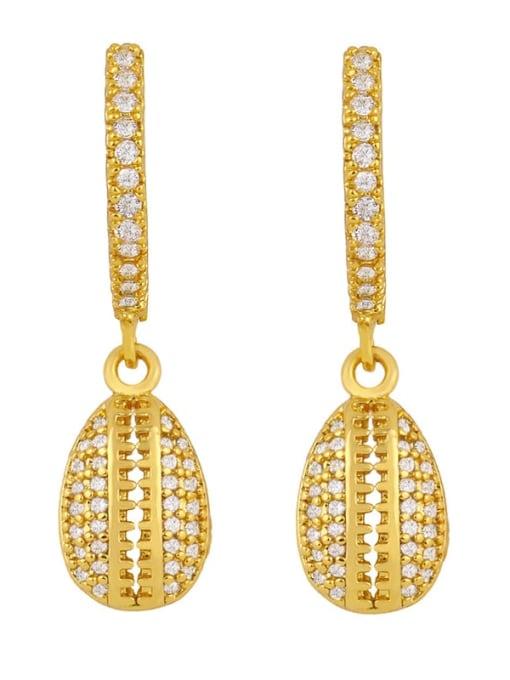 shell Brass Cubic Zirconia Water Drop Vintage Huggie Earring