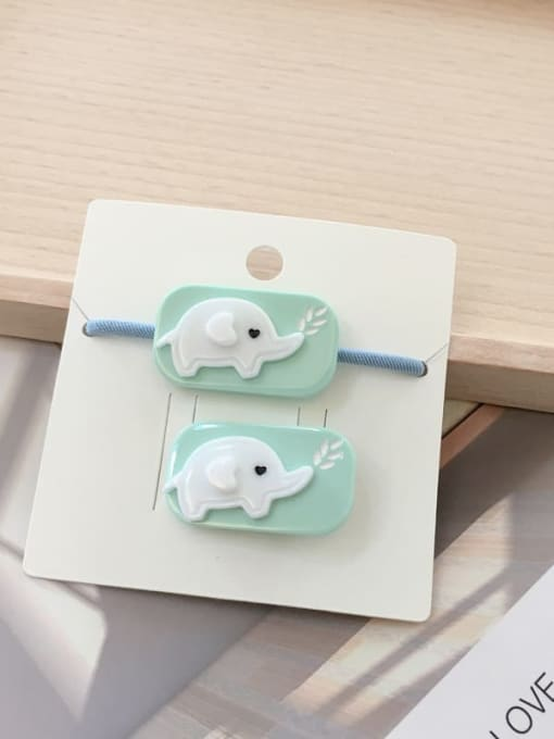 17 green elephant Alloy Acrylic Cute Children cartoon animal fruit Hairpin Rubber band Set