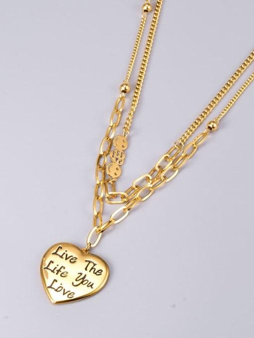 A TEEM Titanium Steel Heart Vintage Multi Strand Necklace 1