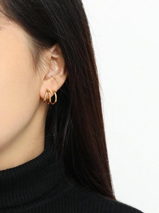 DAKA 925 Sterling Silver Smooth Geometric Minimalist Stud Earring 2