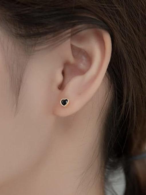 Rosh 925 Sterling Silver Enamel Heart Minimalist Stud Earring 1