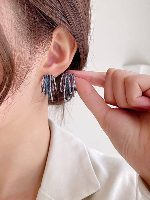 Luxu Brass Cubic Zirconia Geometric Statement Stud Earring 2