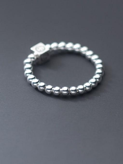 Rosh 925 Sterling Silver Bead Geometric Minimalist Band Ring 0