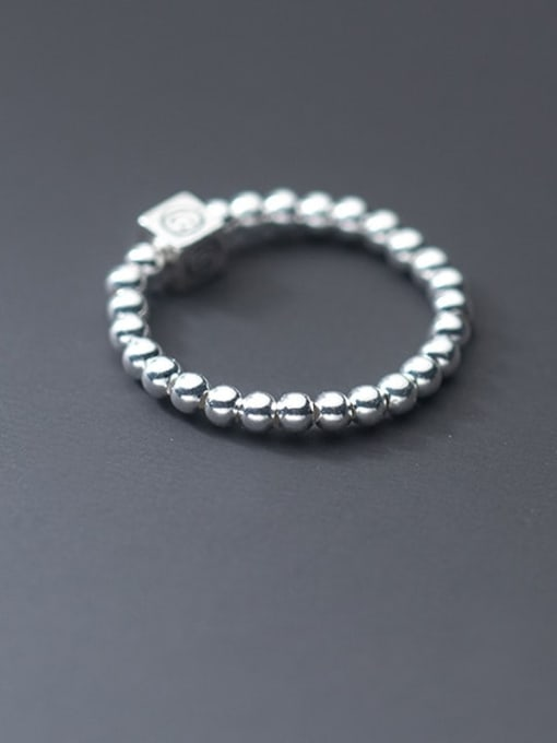 Rosh 925 Sterling Silver Bead Geometric Minimalist Band Ring