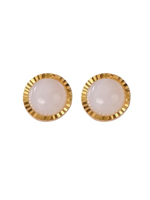 DEER 925 Sterling Silver Jade Round Vintage Stud Earring 0