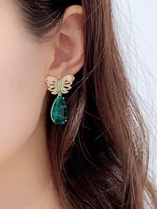 Luxu Brass Cubic Zirconia Water Drop Ethnic Drop Earring 2