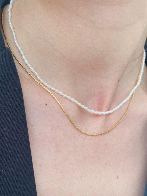 LI MUMU Titanium Steel Imitation Pearl Geometric Minimalist Necklace 3