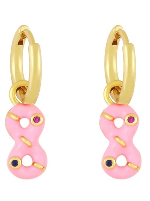 Pink Brass Rhinestone Enamel Number 8 Trend Huggie Earring