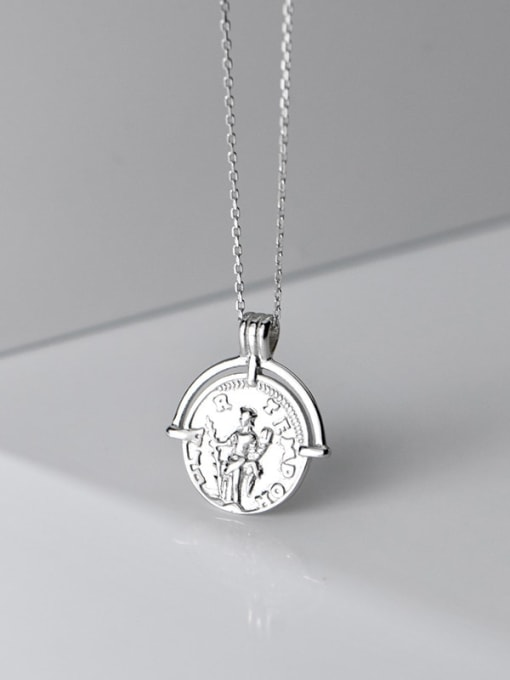 Rosh 925 Sterling Silver Retro glossy English round portrait silver medal Necklace