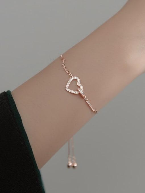 Rosh 925 Sterling Silver Cubic Zirconia Heart Minimalist Adjustable Bracelet 1