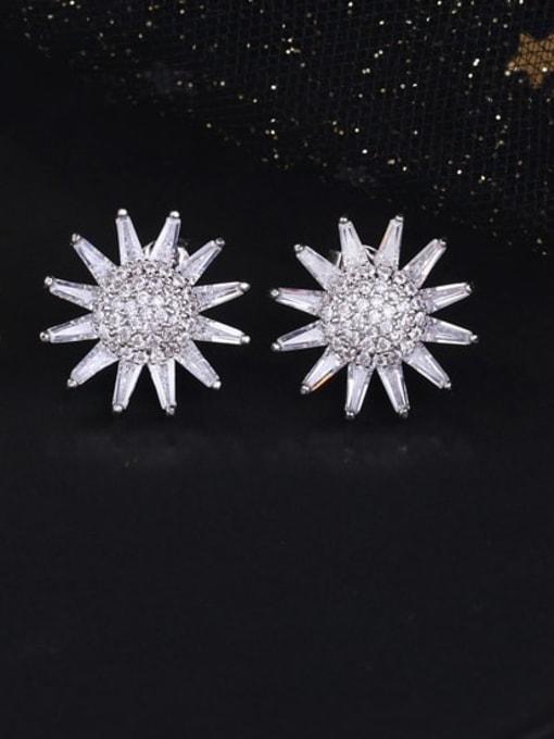 DUDU Brass Cubic Zirconia Sun Flower Luxury Stud Earring