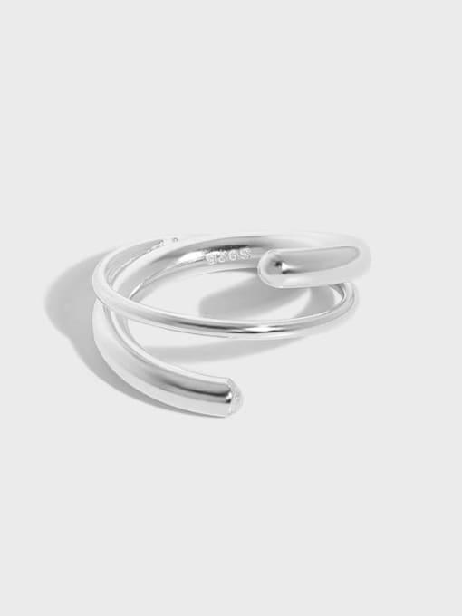 DAKA 925 Sterling Silver Irregular Vintage Stackable Ring 0