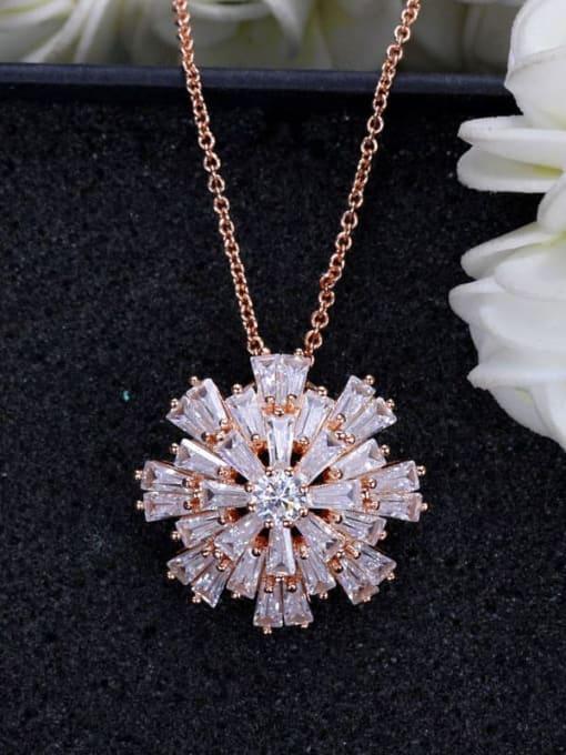 rose gold Brass Cubic Zirconia Flower Luxury Necklace