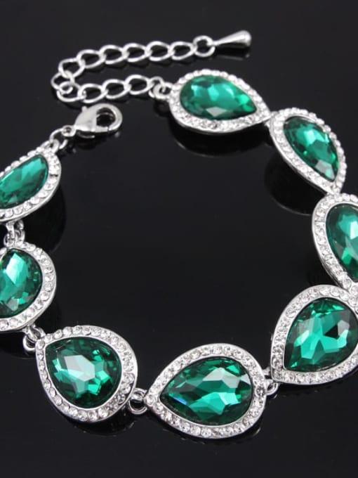 Silver Green Brass Glass Stone Water Drop Luxury Bracelet