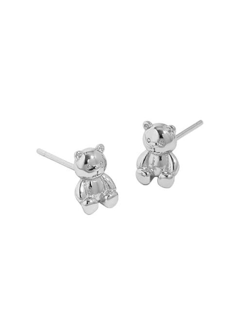 Platinum 925 Sterling Silver Smooth Bear Cute Stud Earring