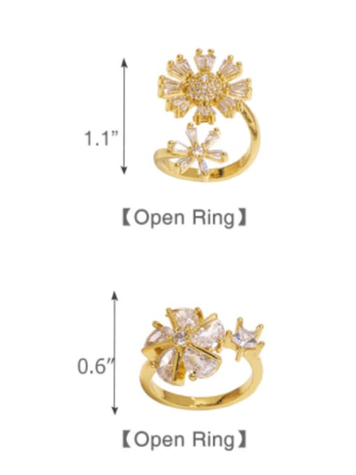 CC Brass Cubic Zirconia Flower Trend Band Ring 3