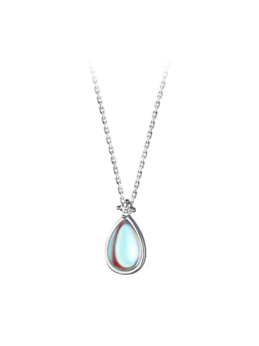 Rosh 925 Sterling Silver Glass Stone Water Drop Minimalist Necklace 4
