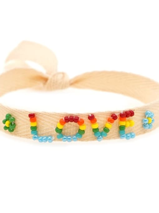MI B200562A Stainless steel Multi Color Polymer Clay Letter Bohemia Handmade Weave Bracelet