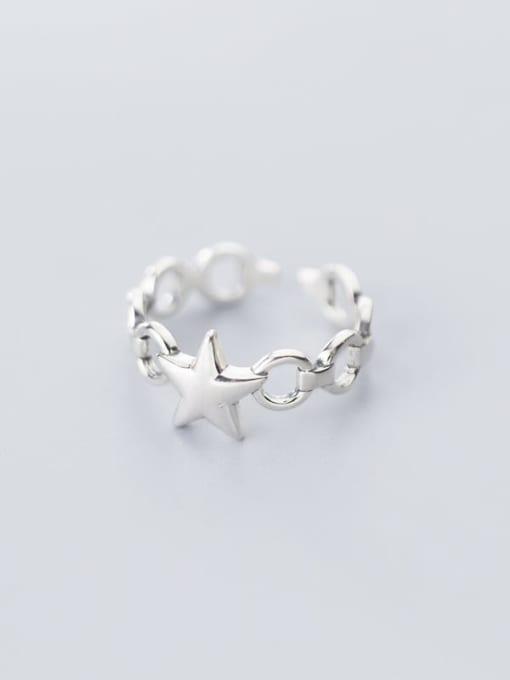 Rosh 925 Sterling Silver  Minimalist Fashion glossy pentagon  free size Ring 2