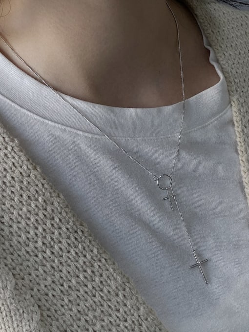 Boomer Cat 925 Sterling Silver Cross Minimalist Lariat Necklace 1