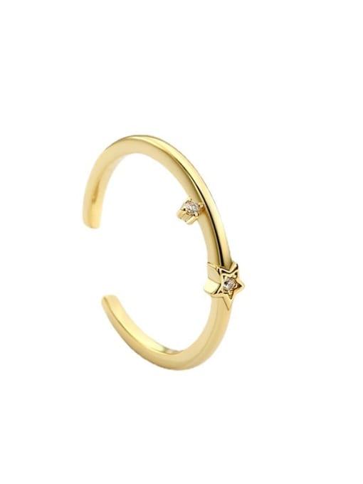 CHARME Brass Cubic Zirconia Irregular Minimalist Band Ring 4
